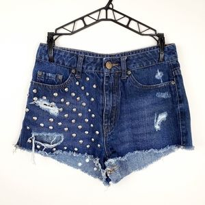 BDG | Studded High Waisted Cheeky Jean Shorts